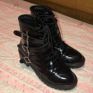 multi strap biker boots